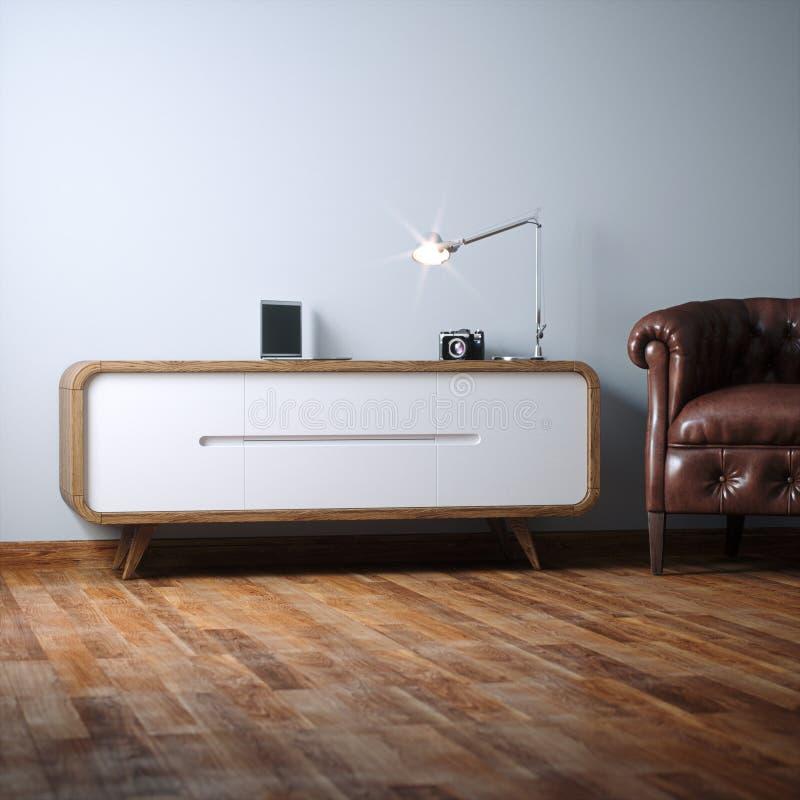 Het uitstekende houten meubilair van de nachttribune in wit binnenland royalty-vrije stock afbeeldingen