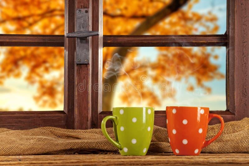 Het uitstekende houten venster overziet de herfstbomen stock foto's