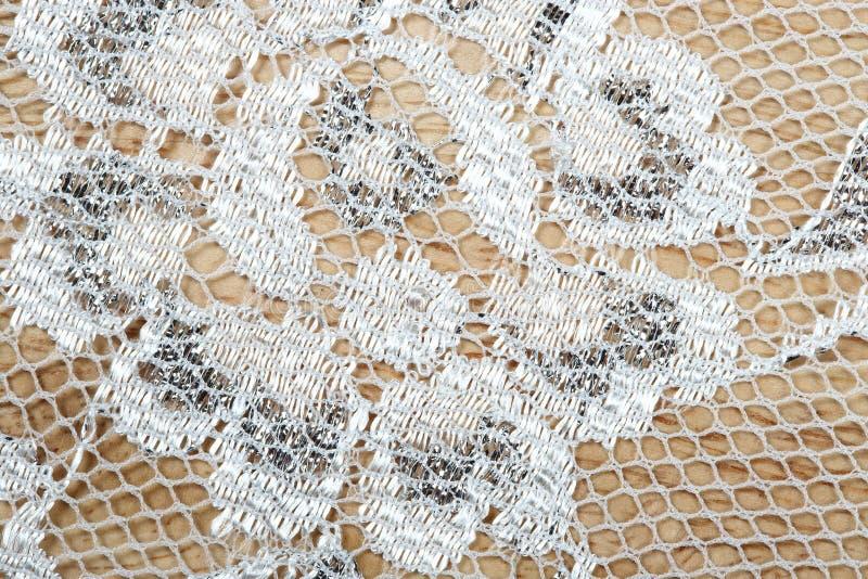 Het uitstekende kant met zilveren draad schittert decoratieve en netto vezel royalty-vrije stock afbeelding