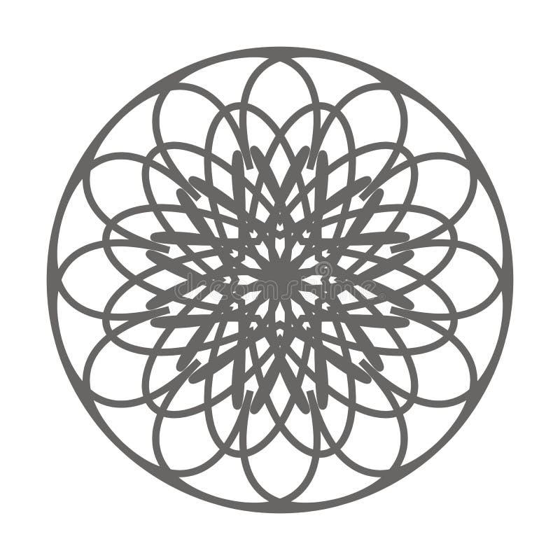 Het uitstekende kleurende ornament, bloeit decoratief element, vector stock illustratie