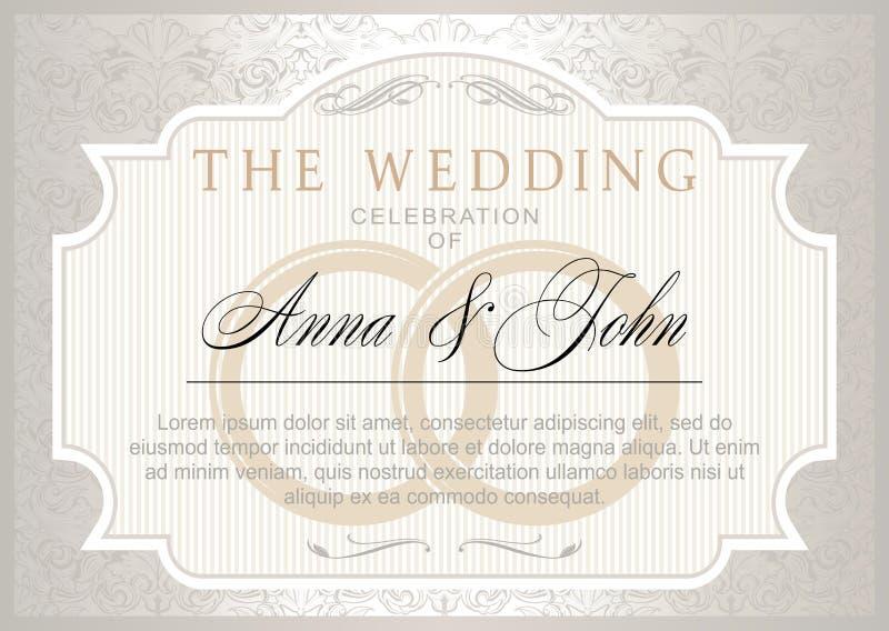Het uitstekende malplaatje van de Huwelijksuitnodiging royalty-vrije illustratie
