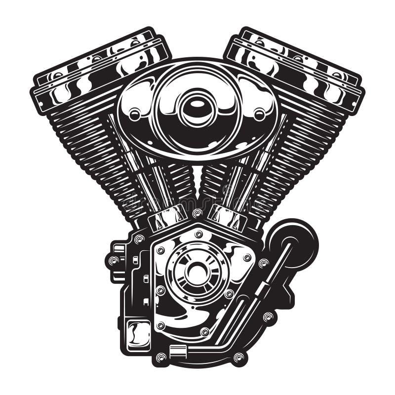 Het uitstekende malplaatje van de motorfietsmotor stock illustratie