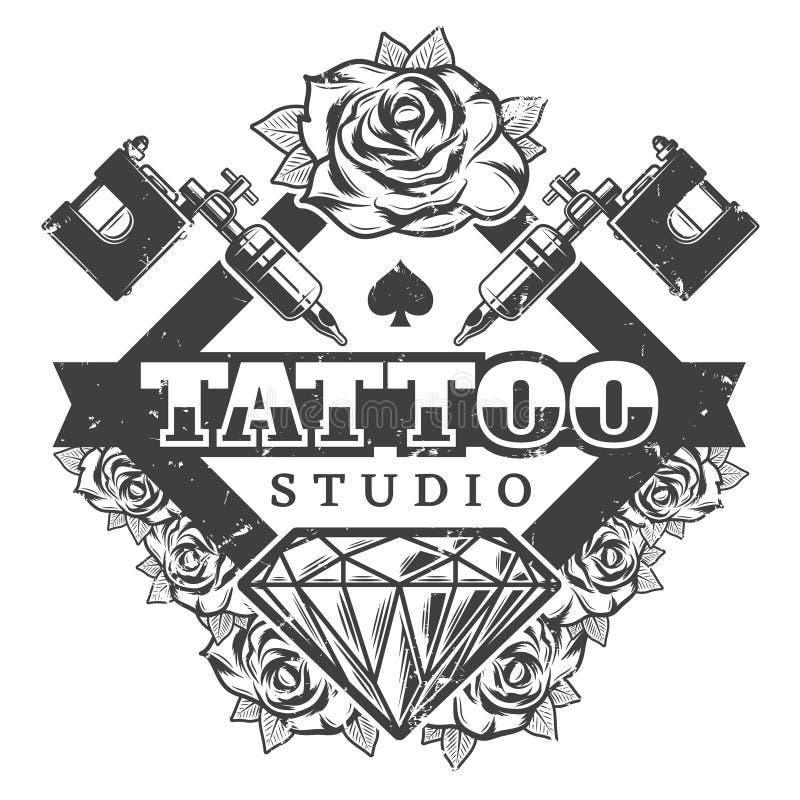 Het uitstekende Malplaatje van Logotype van de Tatoegeringssalon royalty-vrije illustratie