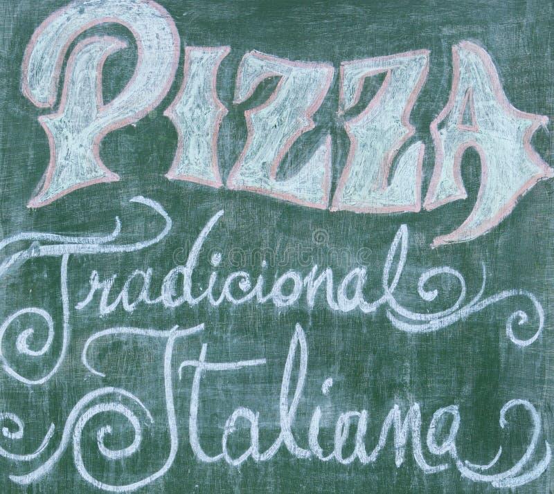 Het uitstekende menu van de Bordpizza met traditioneel Italiaans teken, Gua stock afbeeldingen