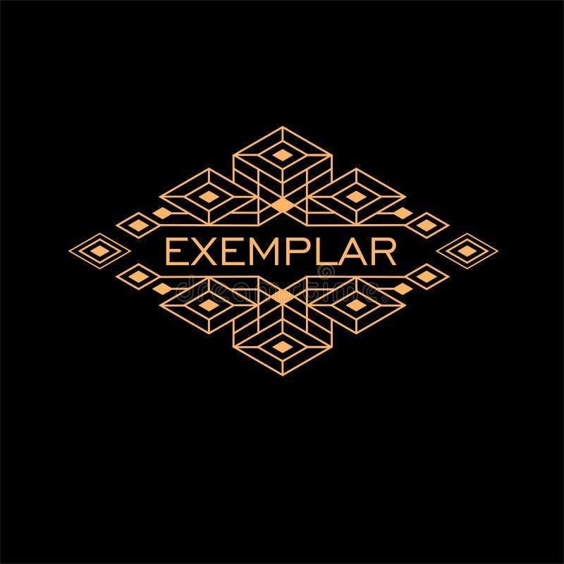 Het uitstekende Monogram van Luxe Antieke Art Deco Monochrome Gold Flourishes Sierembleem Malplaatjeembleem royalty-vrije illustratie