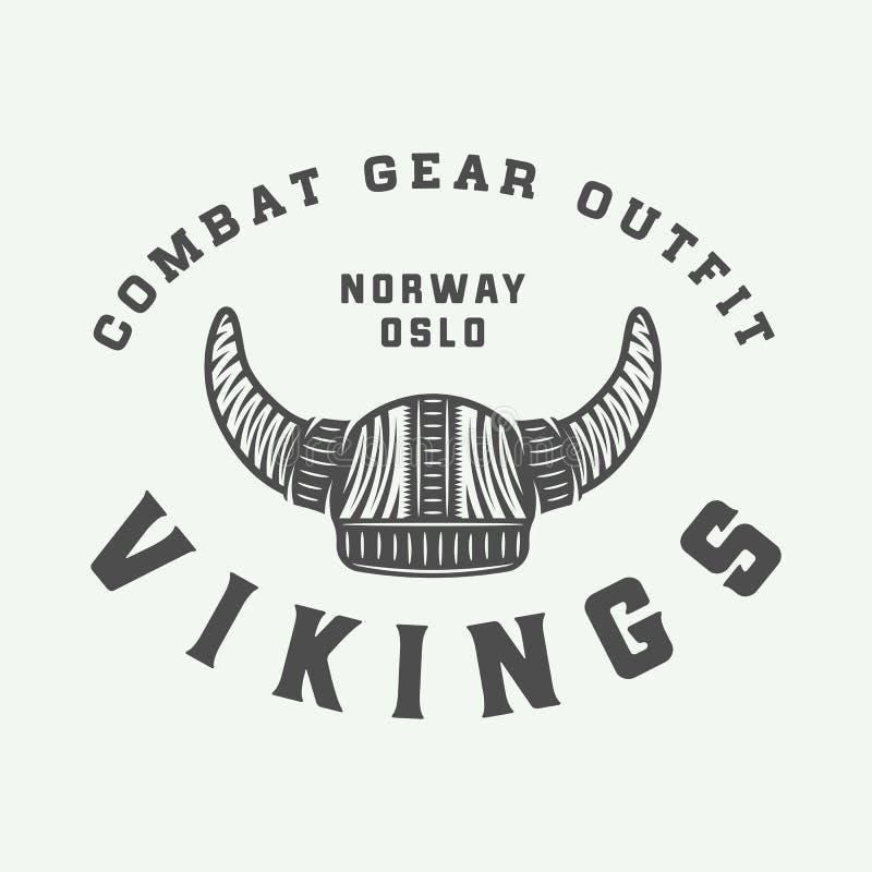 Het uitstekende motievenembleem van Vikingen, etiket, embleem, kenteken stock illustratie
