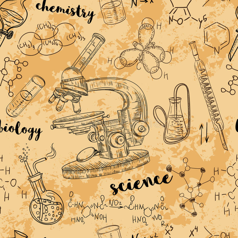 Het uitstekende naadloze laboratorium van de patroon oude chemie met microscoop, buizen en formules vector illustratie