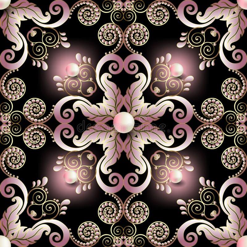 Het uitstekende naadloze patroon van elegantie bloemenjuwelen Mooie sier gloeiende vectorachtergrond Roze bloemen, bladeren, punt royalty-vrije illustratie