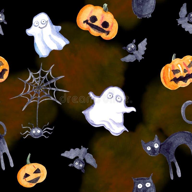 Het uitstekende naadloze patroon van Halloween - pompoen, knuppel, spook, kat Leuke waterverf vector illustratie
