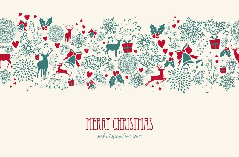 Het uitstekende naadloze patroon van het Kerstmisrendier backgr vector illustratie