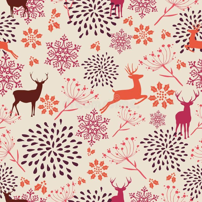 Het uitstekende naadloze patroon van Kerstmiselementen backgr royalty-vrije illustratie