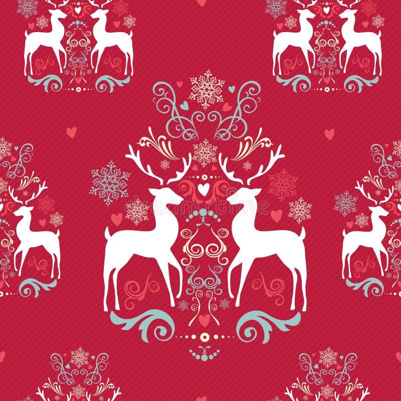 Het uitstekende naadloze patroon van Kerstmiselementen backgr stock illustratie