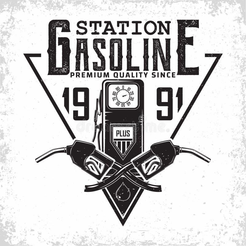 het uitstekende ontwerp van het benzinestationembleem royalty-vrije stock fotografie