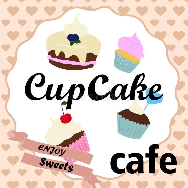 Het uitstekende ontwerp van de cupcakeaffiche vector illustratie