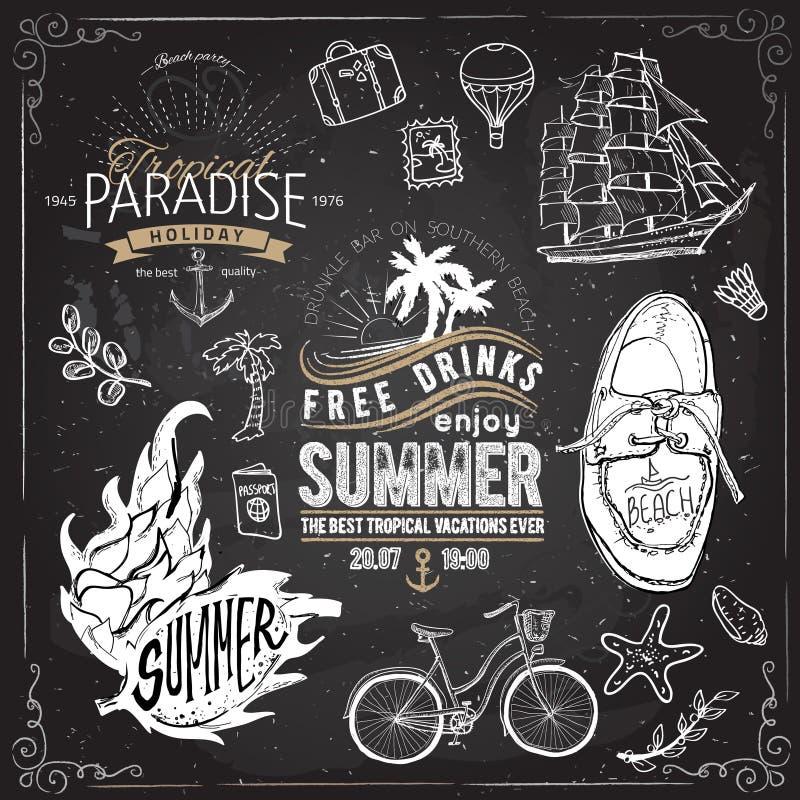 Het uitstekende ontwerp van de de zomertypografie met etiketten, vector illustratie