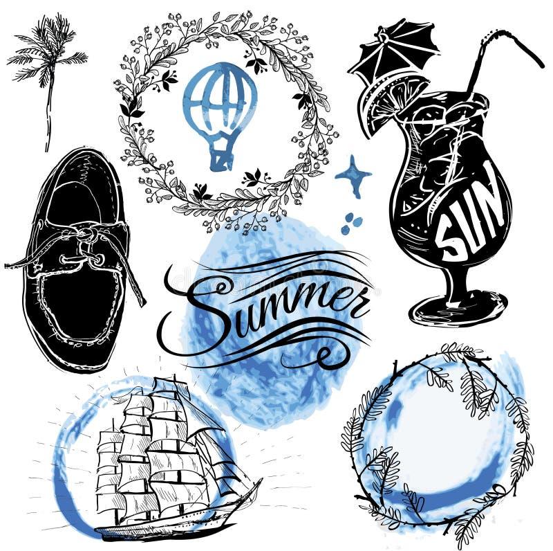 Het uitstekende ontwerp van de de zomertypografie met etiketten, royalty-vrije illustratie