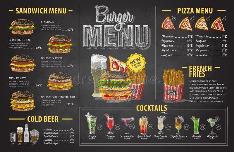 Het uitstekende ontwerp van het de hamburgermenu van de krijttekening Snel voedselmenu stock illustratie