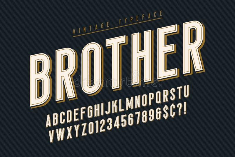 Het in uitstekende ontwerp van de vertoningsdoopvont, alfabet, lettersoort vector illustratie