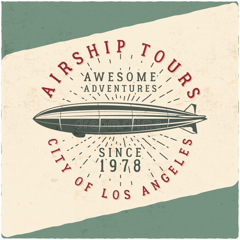 Het uitstekende ontwerp van het luchtschipt-stuk Retro Dirigible-affiche Het vectorontwerp van het vliegtuigetiket Oud t-shirtmal vector illustratie