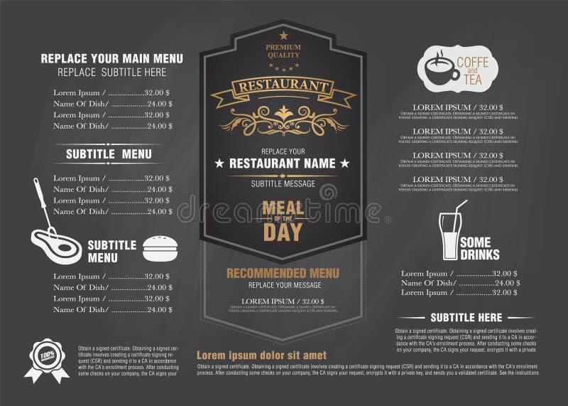 Het uitstekende ontwerp van het menu restarante schoolbord stock illustratie
