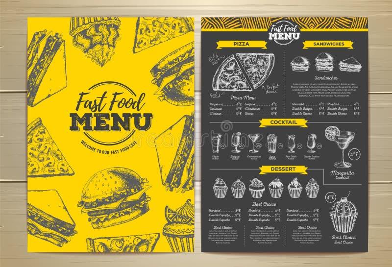 Het uitstekende ontwerp van het snel voedselmenu stock illustratie