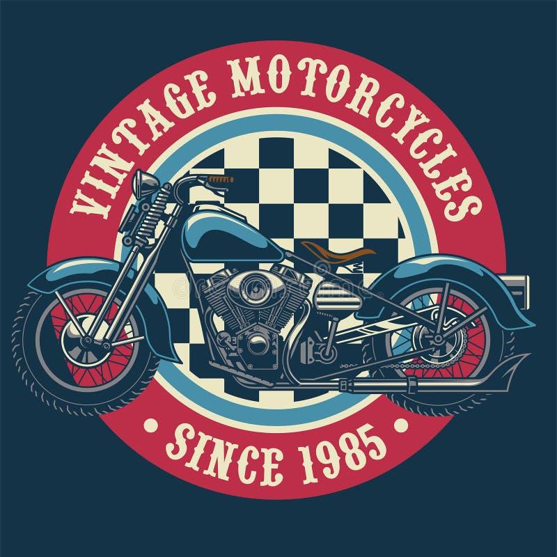 Het uitstekende ontwerp van het motorfietskenteken stock illustratie