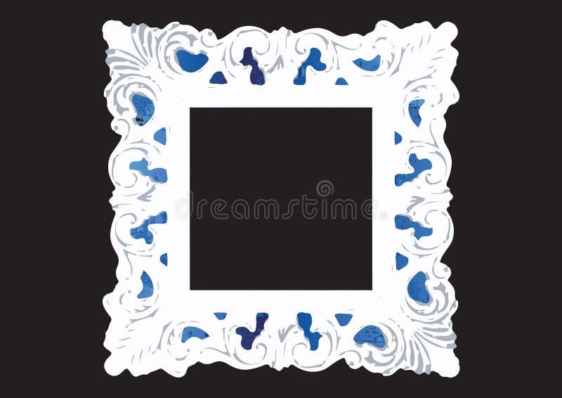 het uitstekende oude kader in sjofele elegante stijl, vector isoleert op zwarte royalty-vrije illustratie