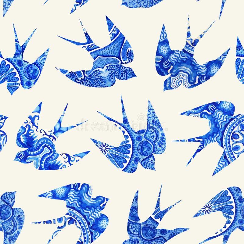 het uitstekende patroon met weinig slikt, naadloos patroon met vogel stock illustratie