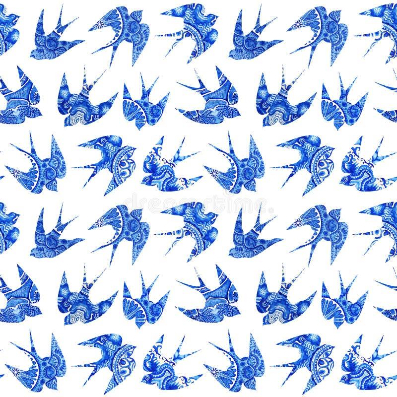 het uitstekende patroon met weinig slikt, naadloos patroon met vogel vector illustratie