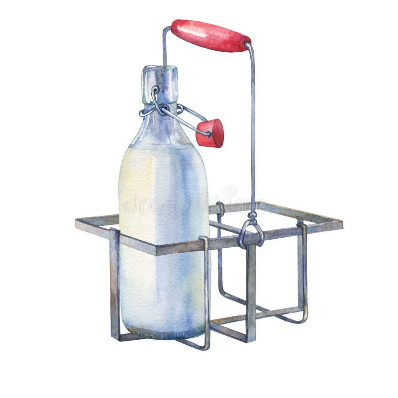 Het uitstekende rek van de het metaalhouder van de boerderijkeuken met flessen melk royalty-vrije illustratie