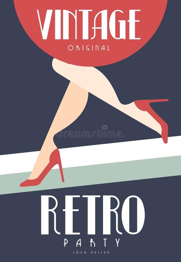 Het uitstekende retro originele ontwerp van het partijembleem, element met vrouwelijke benen in rode schoenen op hoge hielen voor vector illustratie