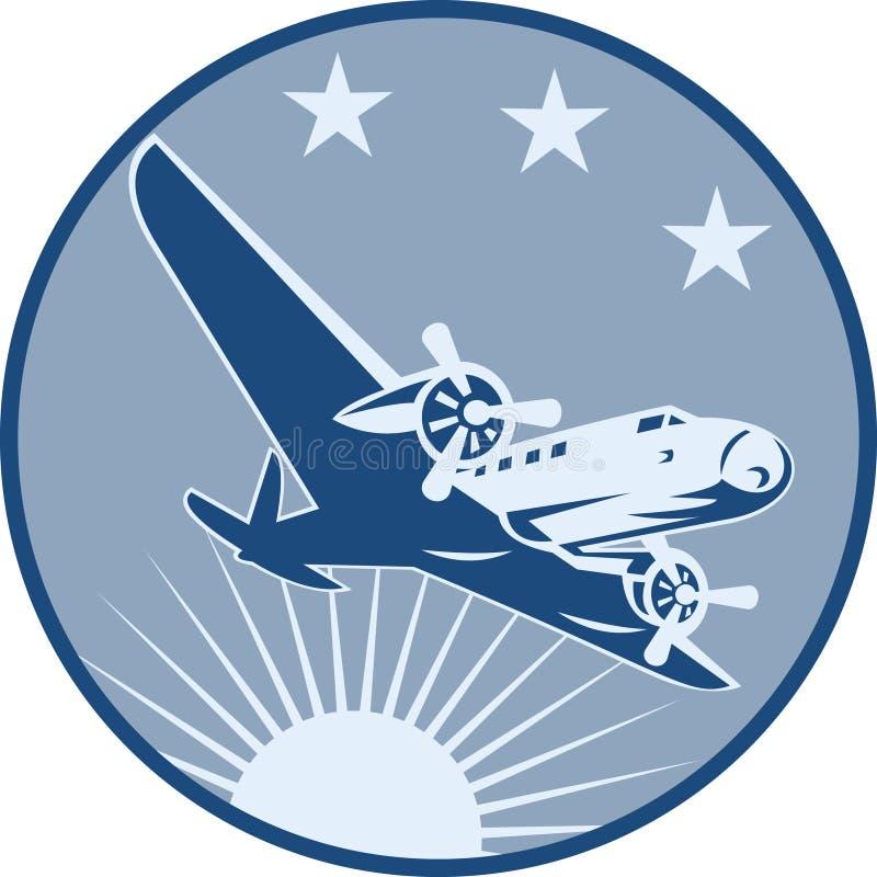 Het uitstekende Retro Vliegtuig van de Propeller royalty-vrije illustratie