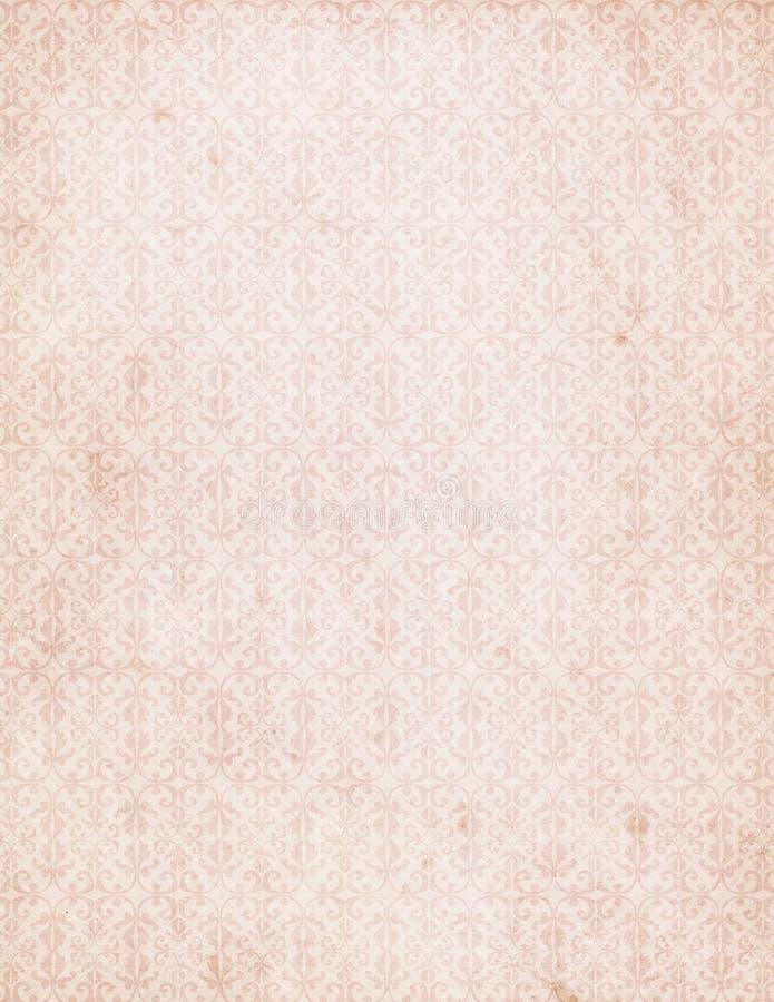 Het uitstekende Roze Behang van het Patroon van het Damast stock foto