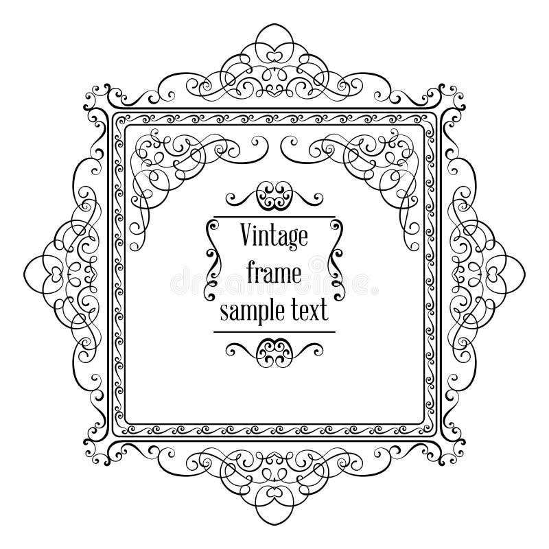 Het uitstekende sier vectormalplaatje van de groetkaart met kader en bloeit stock illustratie
