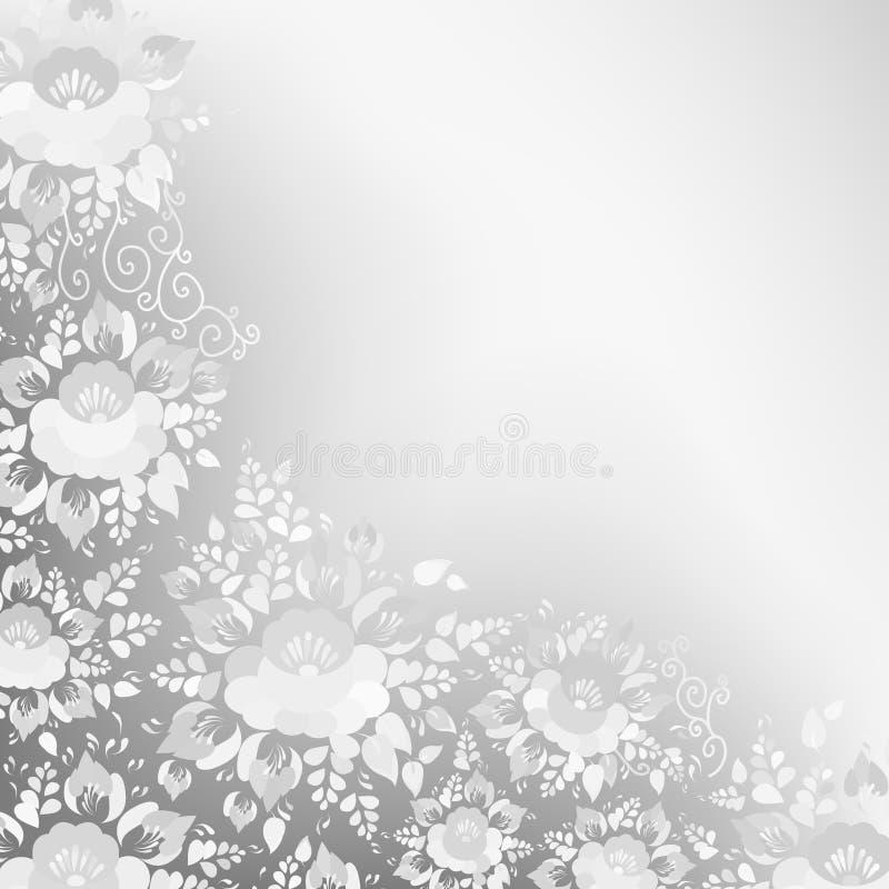 Het uitstekende sjofele Elegante ontwerp van de Huwelijkskaart, bannermalplaatje, springt romantische decoratie, grijze en witte  stock illustratie