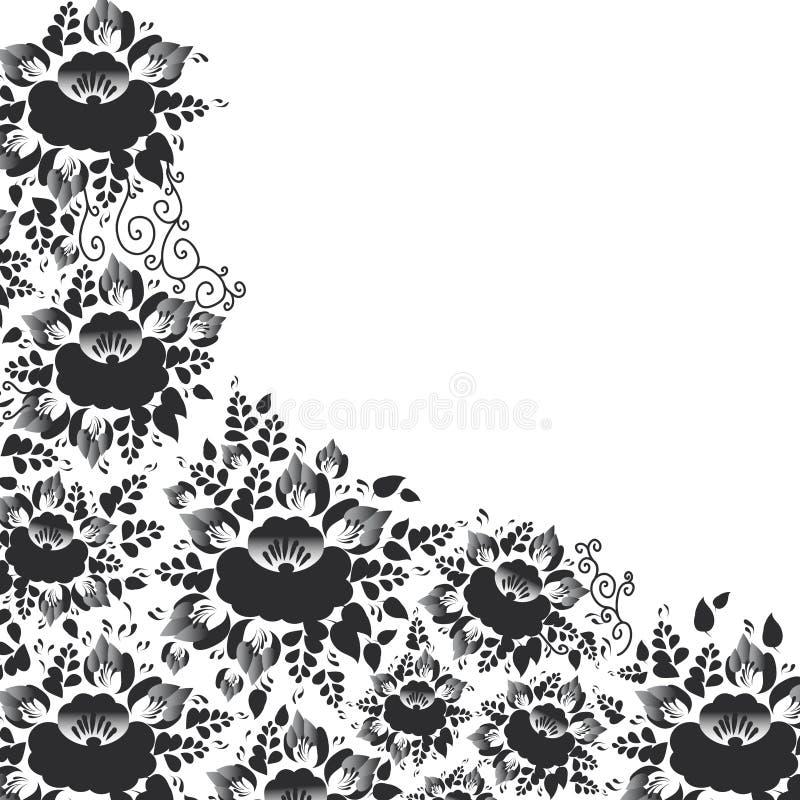 Het uitstekende sjofele Elegante ontwerp van de Huwelijkskaart, bannermalplaatje, springt romantische decoratie, zwarte bloemen e royalty-vrije illustratie