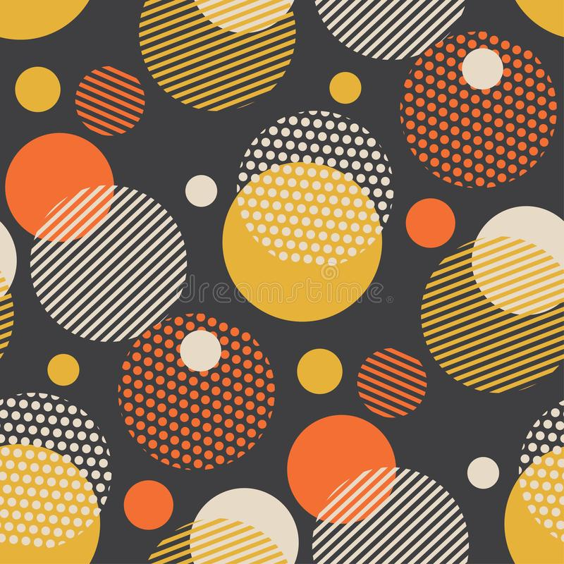 Het uitstekende stijl verspreide naadloze patroon van de cirkelmeetkunde royalty-vrije illustratie