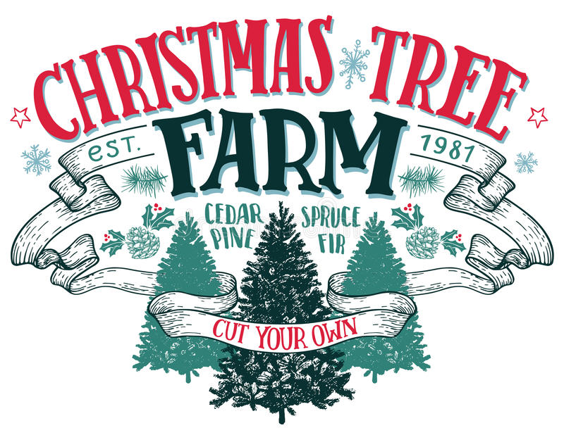 Het uitstekende teken van het kerstboomlandbouwbedrijf stock illustratie