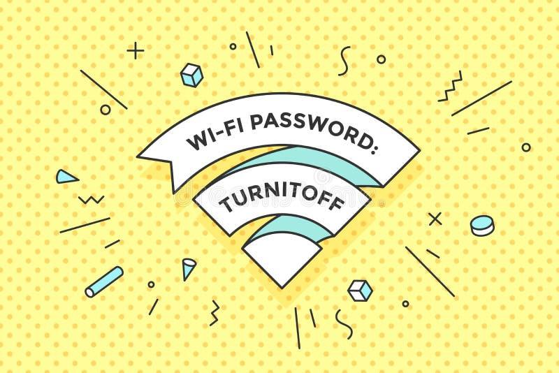 Het uitstekende teken van lintwifi voor vrij WiFi in koffie of restaurant vector illustratie