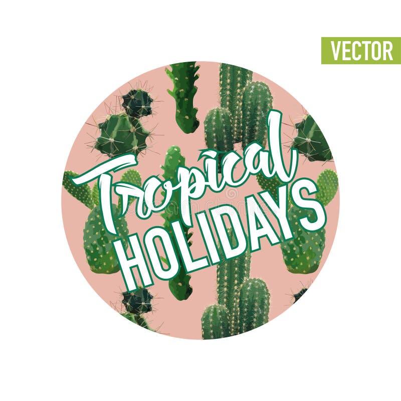 Het uitstekende Tropische Grafische Ontwerp van de de Zomercactus voor T-shirt, Manier, Drukken vector illustratie