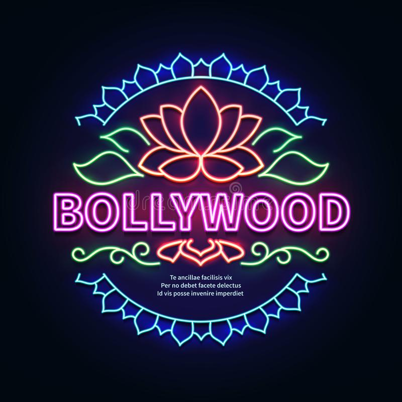 Het uitstekende uithangbord van de bollywoodfilm Het gloeiende retro Indische vectorteken van het bioskoopneon vector illustratie