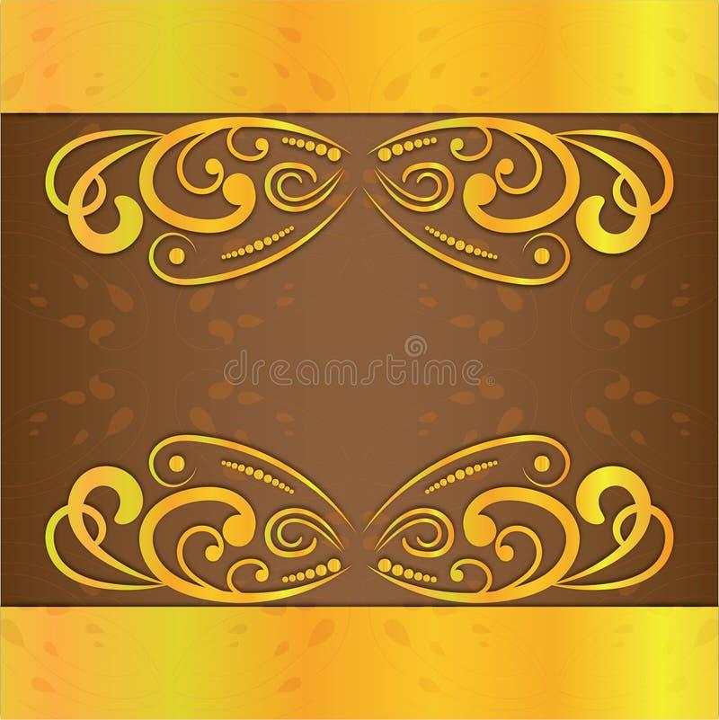 Het uitstekende van de de kaders gouden kleur van de huwelijksuitnodiging vectorontwerp royalty-vrije illustratie
