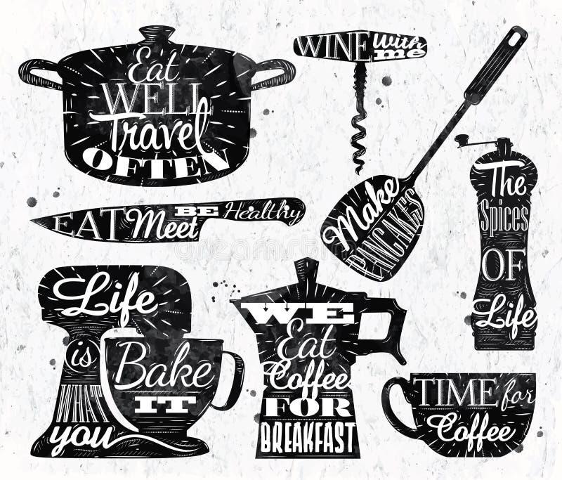 Het uitstekende van letters voorziende restaurant van het keukensymbool royalty-vrije illustratie