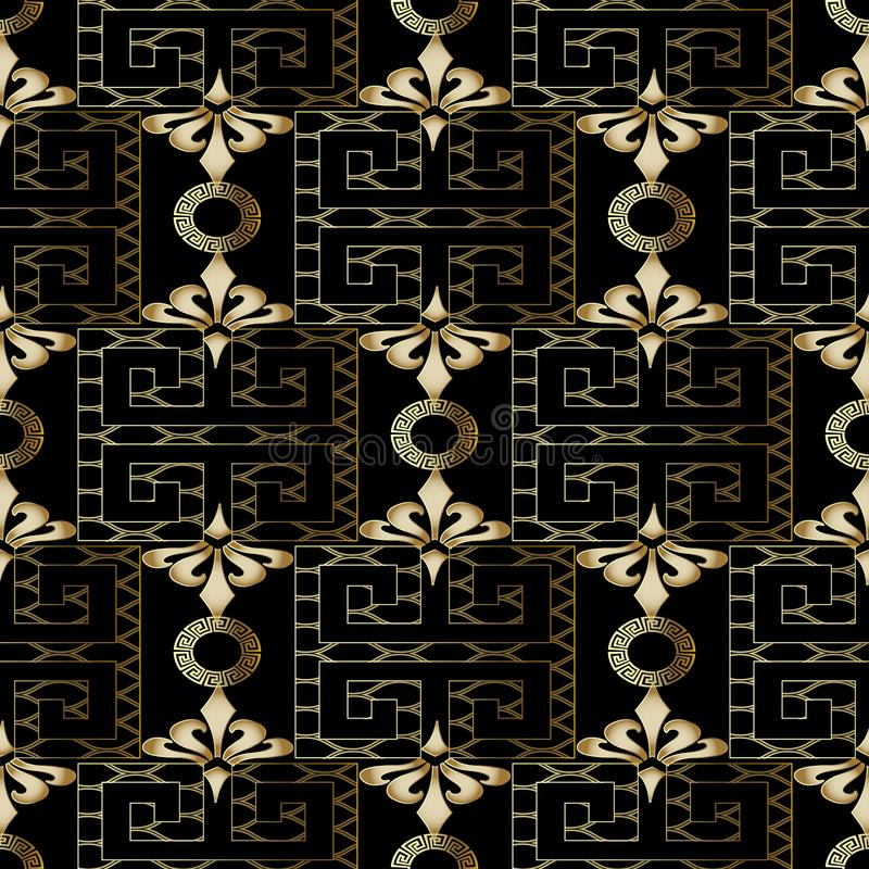 Het uitstekende vector naadloze patroon van kantmeanders Geometrische abstrac stock illustratie