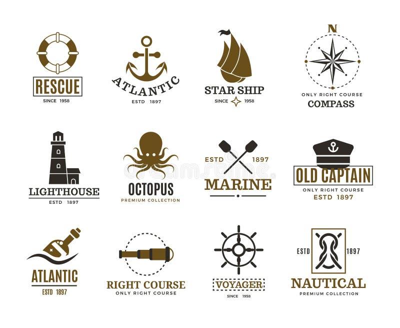 Het uitstekende zeevaart, mariene varen, overzeese schip vectoretiketten, kentekens, embleem vector illustratie