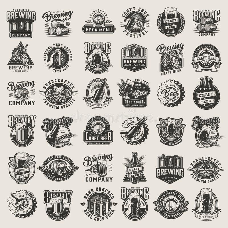Het uitstekende zwart-wit bier ontwerpt grote reeks stock illustratie