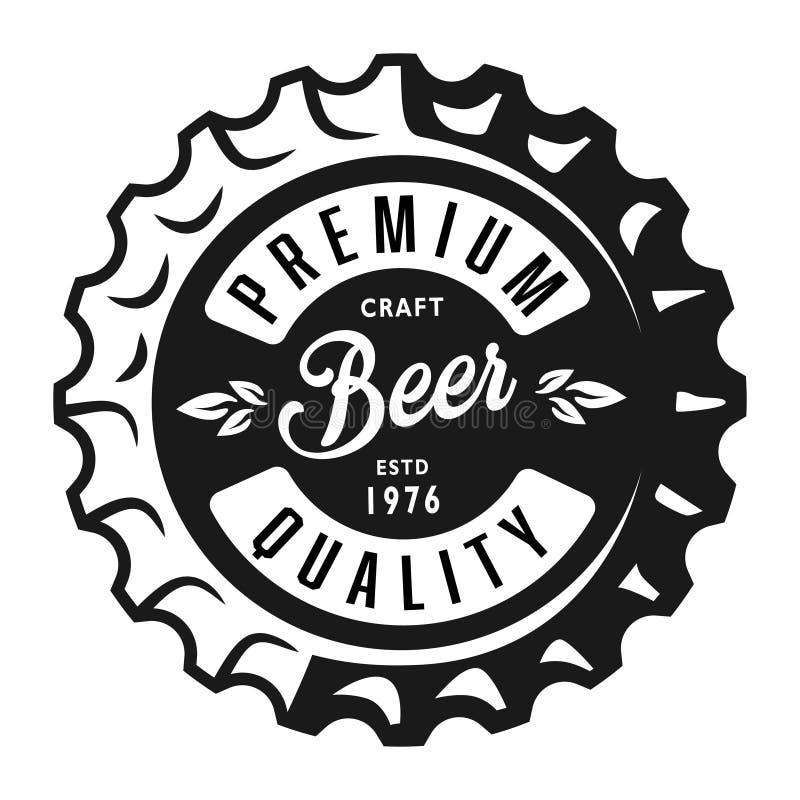 Het uitstekende zwart-wit etiket van het lagerbierbier stock illustratie