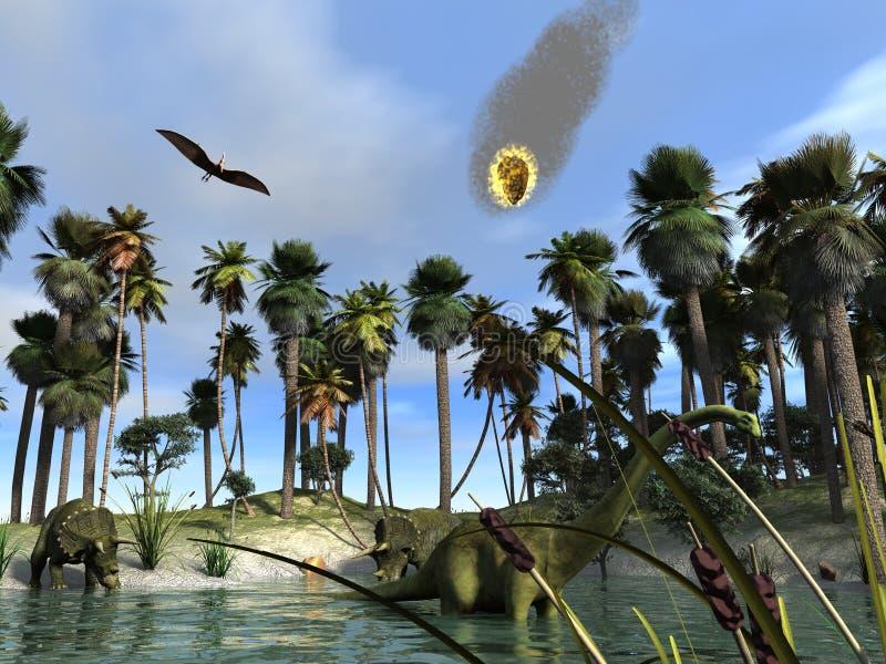 Het uitsterven van de dinosaurus stock illustratie
