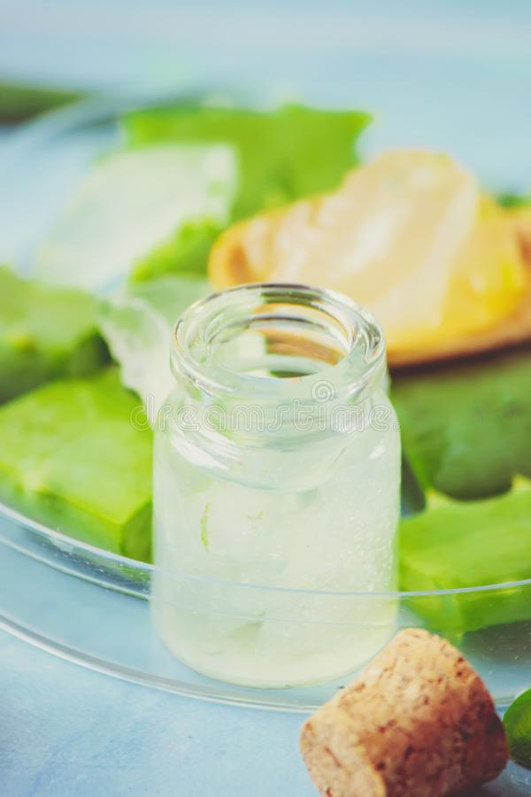 Het uittreksel van aloëvera in een kleine fles en stukken op de lijst royalty-vrije stock foto's