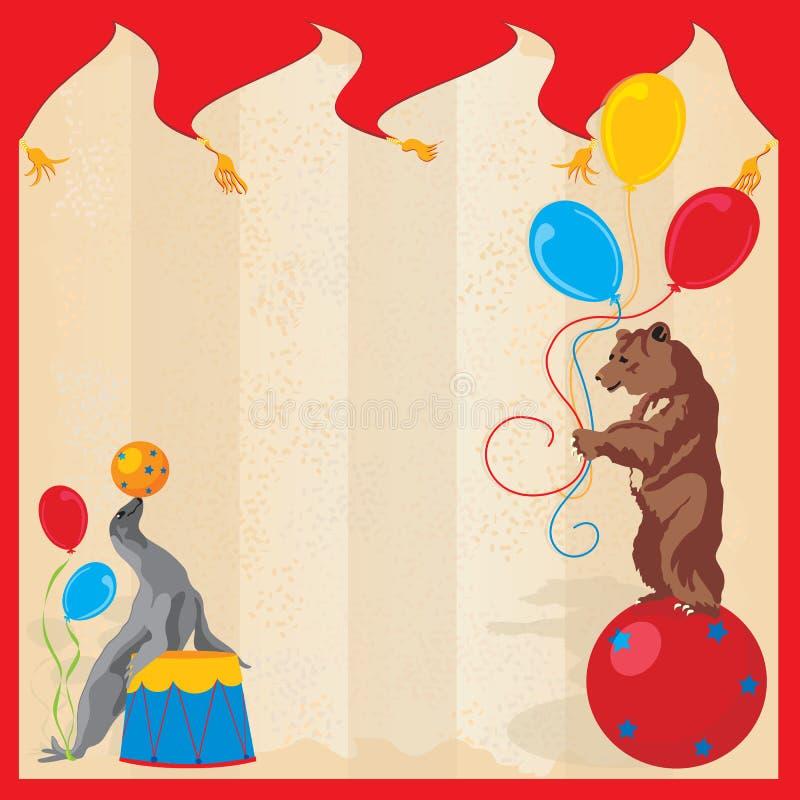 Het uitvoeren van de Partij van de Verjaardag van het Circus van Dieren Invitatio royalty-vrije illustratie